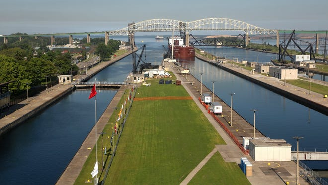 The 1,013 foot long Paul R. Tregurtha freighter enters the Soo Locks in Sault Ste. Marie, Michigan on Friday, June 26, 2015.