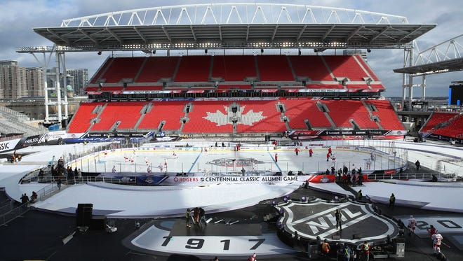 Dec 30, 2016; Toronto, ON, Canada; A general view of BMO Field as the Detroit Red Wings practice two days before playing against the Toronto Maple Leafs in the Centennial Classic hockey game at BMO Field.