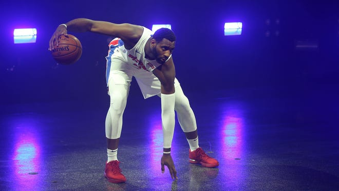 Pistons' Andre Drummond is photographed at media day Sept. 25, 2017 at the Palace in Auburn Hills.