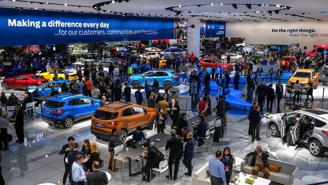 The Ford exhibit on Monday, January 15, 2018 during the 2018 North American International Auto Show at Cobo Center in Detroit.