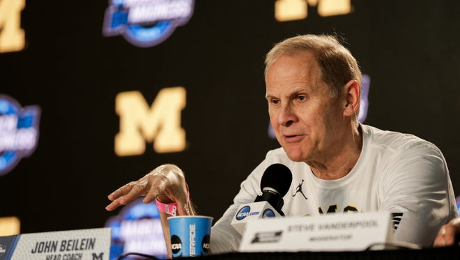 Michigan coach John Beilein answers a question during a press conference Friday in Los Angeles.