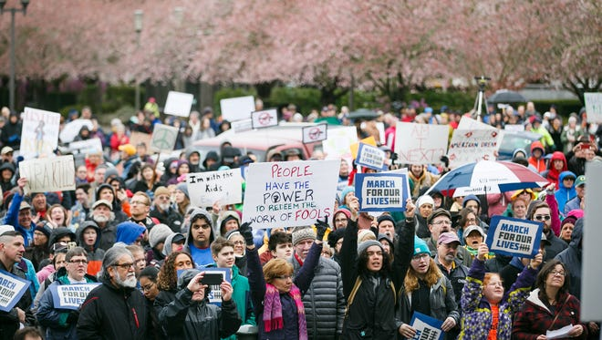 Over 2,000 people gathered outside of the Oregon State Capitol for the March for Our Lives rally on Saturday, March 24, 2018, at the Oregon State Capitol. The student-led event called for stricter gun laws in the wake of the Parkland, Fla., shooting.