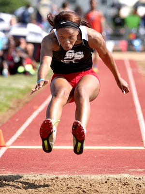 Jackson South Side's Makayla Transou competes in the long jump in the 2018 Large Class State Track Meet during Spring Fling on Thursday, May 24, 2018, at MTSU, in Murfreesboro.