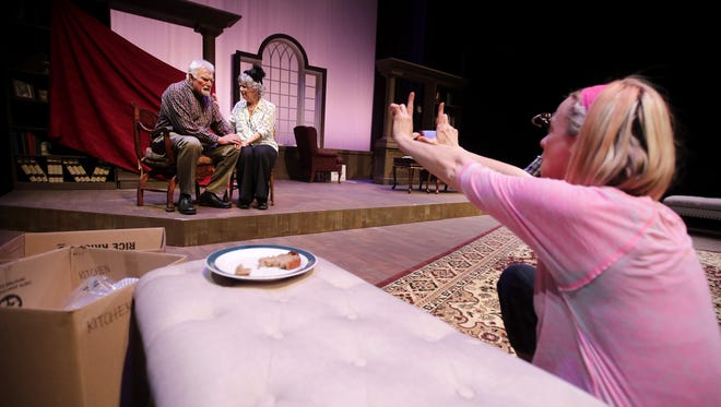 """Gary Zurbuchen, playing Gardner Church, and Nancy Ernst, playing Fanny Church, rehearse for """"Painting Churches"""" Tuesday at at UW-Fox Valley in Menasha. The production is a collaboration between Attic Theatre and the Fox Valley Memory Project."""