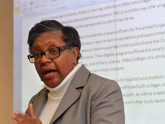 Research specialist Dorothy Mason speaks to the assembled group. The Nu Xi chapter of the AKA Sorority, the oldest sorority founded by African-American women launches a mentoring program for high school students, at RVCC in Branchburg.