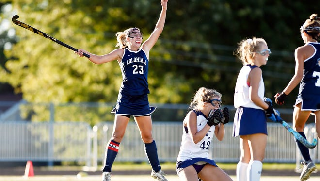New Oxford's Carly Flickinger reacts after scoring a goal to end an overtime period in a YAIAA field hockey game Thursday, Sept. 28, 2017, at Dallastown. New Oxford defeated Dallastown 1-0 in overtime.