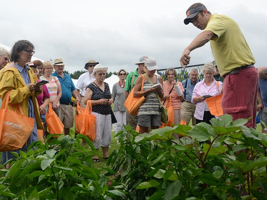 Lucas Holman talks about peppers on a tour during the Summer Celebration Lawn and Garden Show at the West Tennessee AgResearch and Education Center on Thursday, July 14, 2016.
