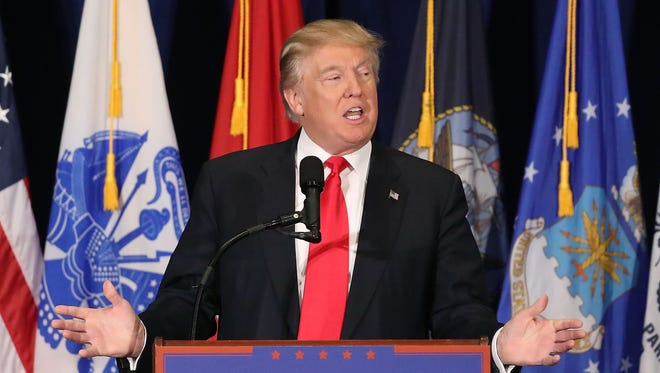 Donald Trump speaks in Virginia Beach on July 11, 2016.