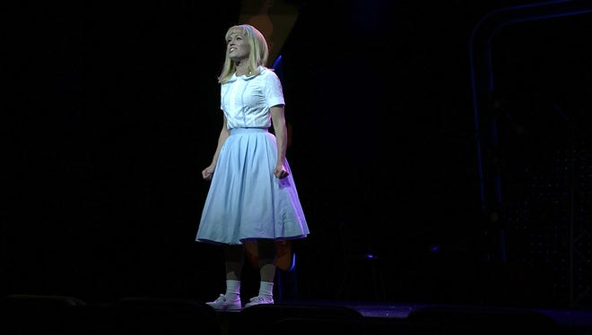 "Cedar Crest graduate Katrina Diehm sings during ""Sandra Dee reprise,"" in the Royal Caribbean Cruise Line's production of ""Grease."""