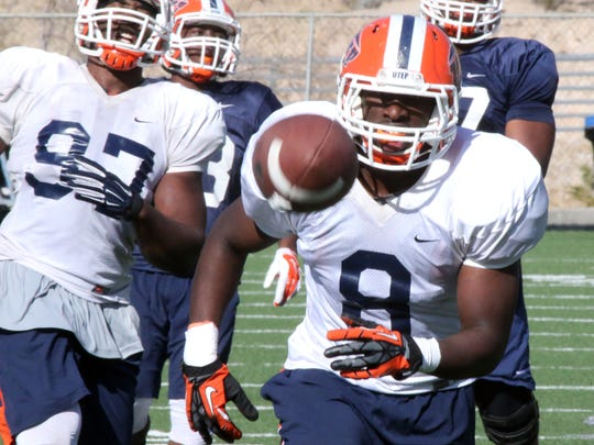 UTEP linebacker Johnny Jones, 8, chases a pass during Wednesdays spring practice at Glory Field.