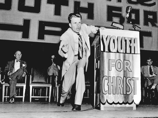 At twenty-seven, Billy resigned his pulpit to go  on the roadfor Youth for Christ.