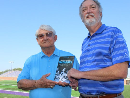 """Longtime football coach Jimmie Keeling, left, sought local author Al Pickett to write """"Mighty, Mighty Matadors,"""" the story of the unbeaten 1968 state champion Estacado. Keeling, who coached at Hardin-Simmons University from 1990 to 2010, led the Mats to the title in their first season of play."""