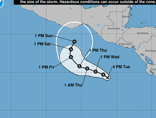 The predicted path of Tropical Depression One-E takes