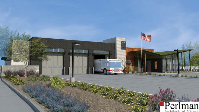 A rendering of what the new Fire Station 203 will look like.