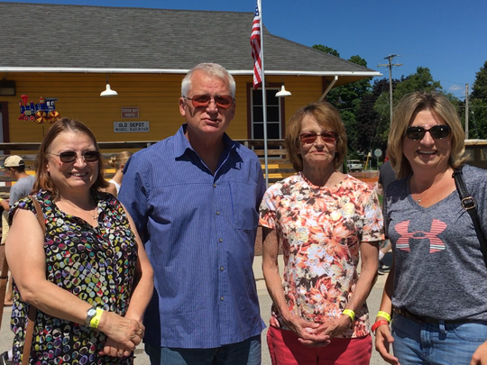 Charlie Nagreen, inventor of the hamburger was their great-great-uncle, and they made their first trip to Burger Fest on Saturday. From left are siblings Deb Pizzuit, Gary Klebs, Sandy Garczynski and Janice Tischler.