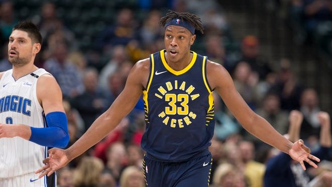 Myles Turner of Indiana signals a made three point shot during game action, Orlando Magic at Indiana Pacers, Bankers Life Fieldhouse, Indianapolis, Monday, Nov. 27, 2017. Indiana won 121-109.