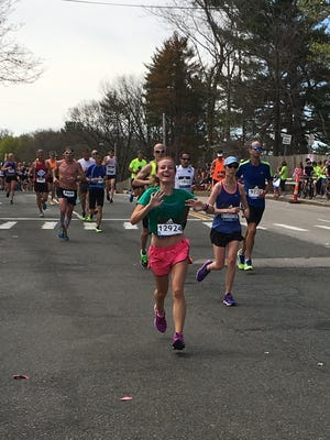 Sarah Bischoff, a 22-year-old Hanover native, competes at the 2017 Boston Marathon on April 17, 2017.