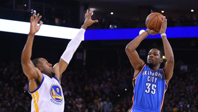 After missing the previous five games for a right ankle sprain, Durant is returning for tonight's game.