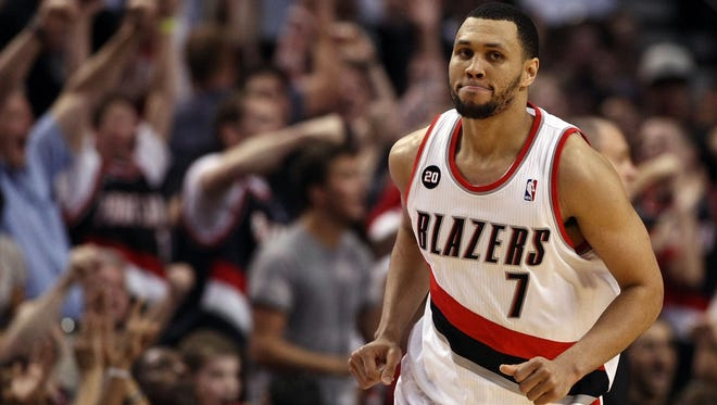 Portland Trail Blazers guard Brandon Roy reacts after making a shot against the Dallas Mavericks during the 2011 NBA playoffs.