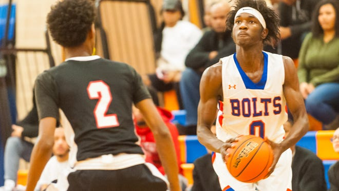Millville's Rynell Lawrence, pictured earlier this season, scored his 1,000th career point on Saturday.