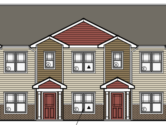 A rendering of the future Cranberry Woods Townhomes