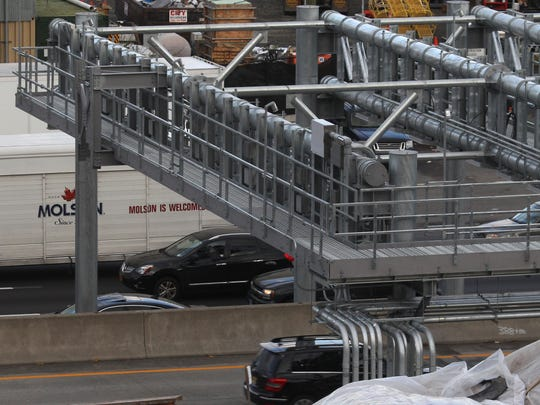 A toll gantry has been built over the New York State
