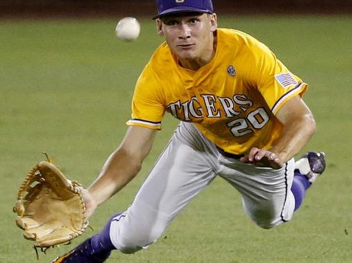 LSU outfielder Antoine Duplantis (20) had the game-winning RBI in the second game of a doubleheader on Friday.