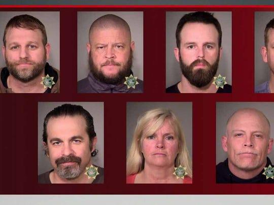 Top row from left: Ammon Bundy, Brian Cavalier, Ryan Payne, Ryan Bundy Bottom row: Peter Santilli, Shawna Cox, Joseph O'Shaughnessy