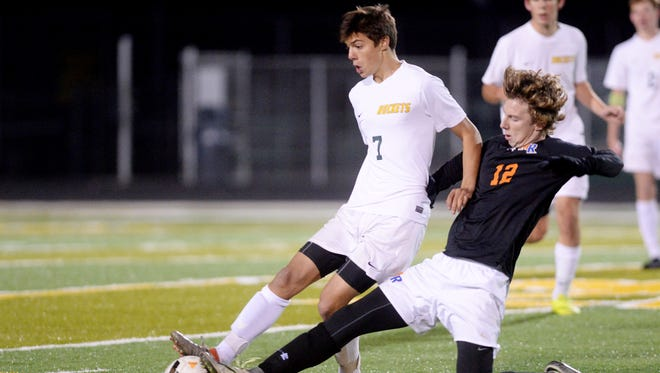 Reynolds' Adam Kluge, left, during a 2016 game, scored the game's only goal Monday in a match against Asheville Christian.