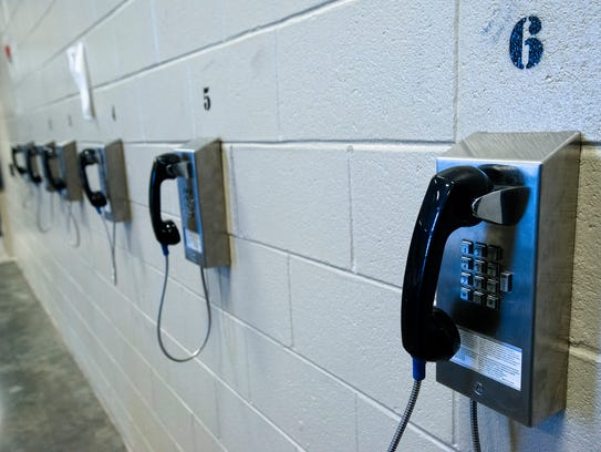 Phones inside the Montgomery County Jail in Montgomery,