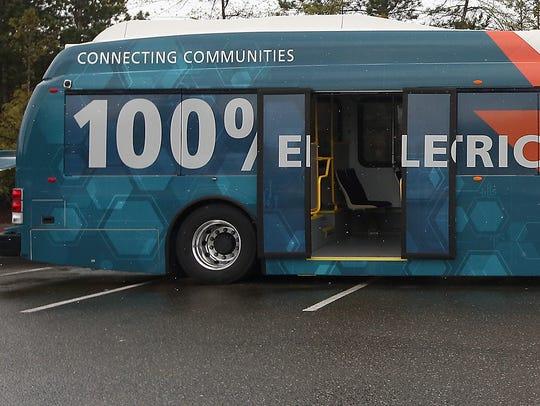 Kitsap Transit showcases their electric bus outside