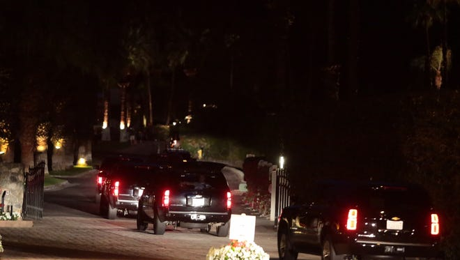Presidential motorcade enters Thunderbird Heights in Rancho Mirage a little past 6:00 p.m.