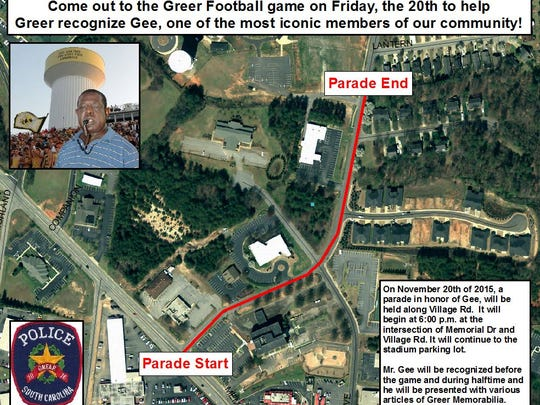 The Greer Police Department and Greer High School will honor a resident with a parade.