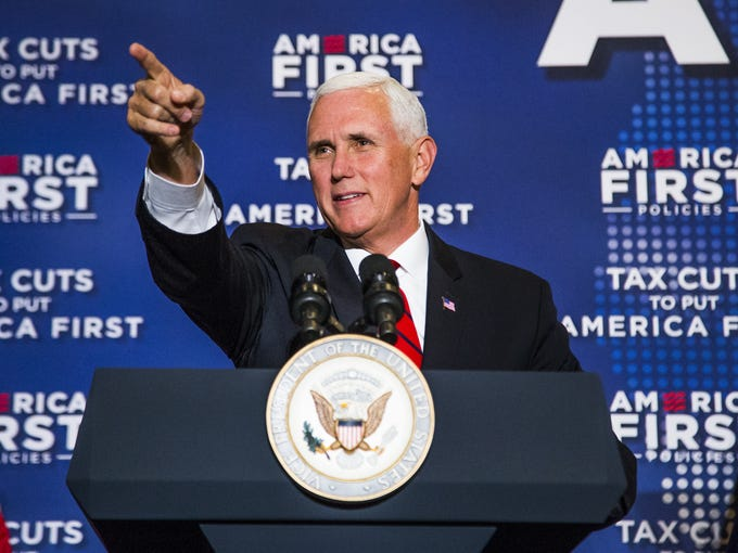 Vice President Mike Pence delivers his speech, primarily