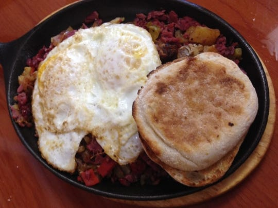 Rooster's Daytime Cafe's corned beef hash and eggs.