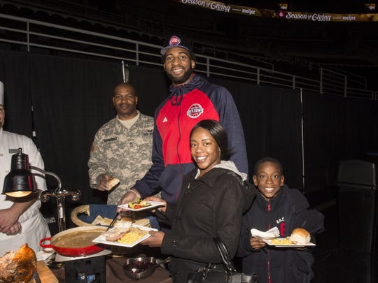 Andre Drummond at the Pistons' annual Thanksgiving dinner Nov. 18, 2015.