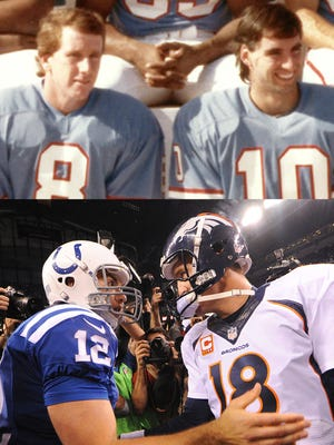 Top: Archie Manning (8) and Oliver Luck sit side-by-side in a 1982 Houston Oilers team picture. Bottom: Andrew Luck and Peyton Manning shake hands after their first meeting in 2013.