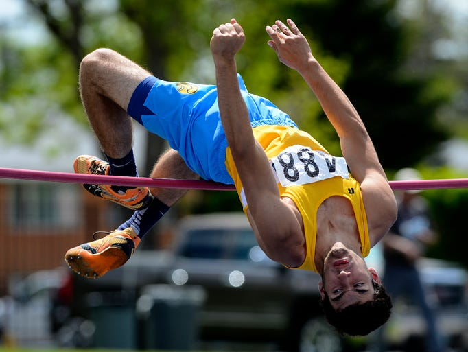 "CJI's Cody Ramberg attempts 6'0"" in the high jump during the Class C State Track Meet on Saturday."