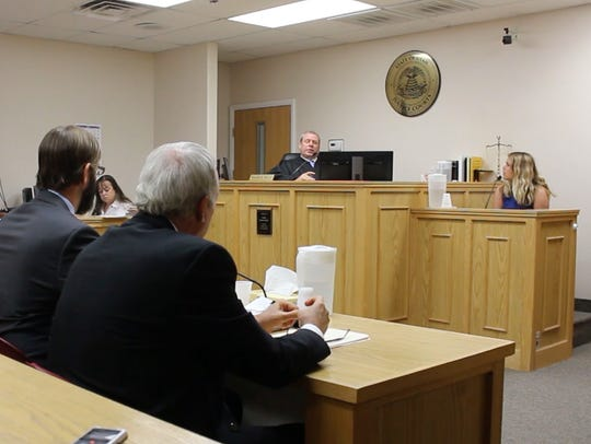 DSU student Carlee Whalen testifies during the Varlo