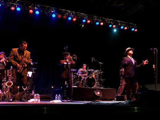 Big Bad Voodoo Daddy performs during the 3rd annual Rhythm, Wine & Brews Experience held at Empire Polo Club in Indio, California on Saturday, March 1, 2014.