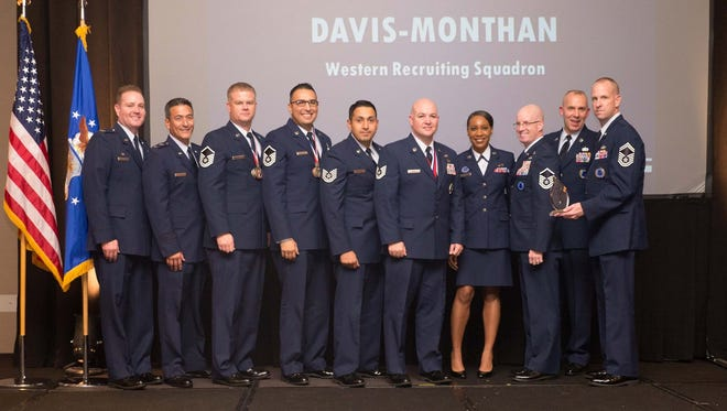 """Team Davis-Monthan"" won the Top Flight in Air Force Reserve Command Recruiting Service for fiscal year 2015, having met 209 percent of their annual accessions goal! ""Team Davis-Monthan"" includes: Senior Master Sgt. Clark Gilleo (flight chief), Senior Master Sgt. Cherie Rogers (flight chief), Master Sgt. Adam Eldard (in-service recruiter), Master Sgt. Gabriel Silva (in-service recruiter), Master Sgt. Tyler Max (officer accessions), Master Sgt. John Herrick (line recruiter), Tech. Sgt. Martin Guardado (line recruiter), Tech. Sgt. Anthony White (in-service recruiter), and Jan Dietman (administrative assistant). The recruiting zones for ""Team Davis-Monthan"" include the greater Tucson, Arizona, area, and Holloman Air Force Base. ""We had an awesome team of NCOs who really took recruiting to the next level,"" said Gilleo, of their success. ""They were always professional and went out of their way to take care of their applicants. All of them will be future leaders in our program."