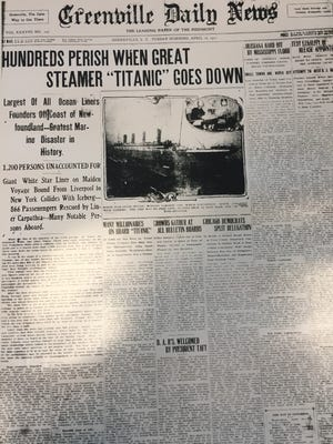 The front page of The Greenville Daily News on April 16, 1912.