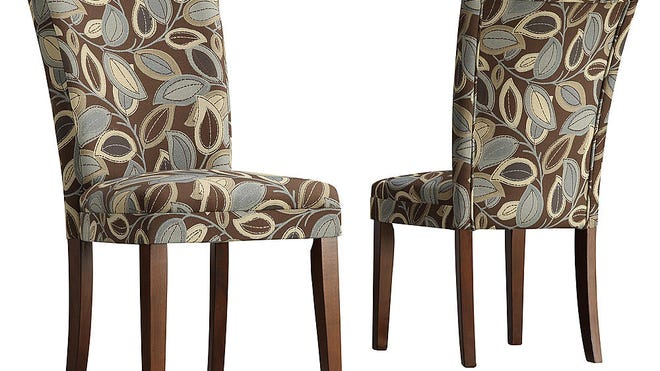 Dining chairs can be great accents. Oxford Creek leaves fabric chair, $157.94 for a set of two at sears.com.