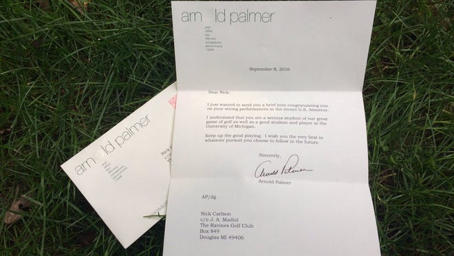 Here's the letter UM golfer Nick Carlson received from Arnold Palmer.