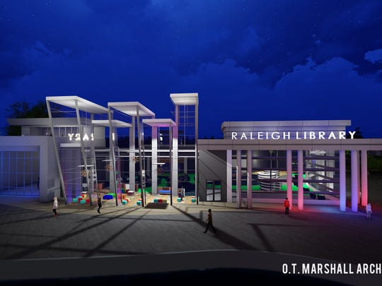 Rendering of the Memphis branch library at the Raleigh Civic Center.