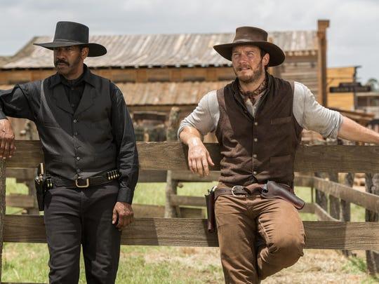 "Denzel Washington, left, and Chris Pratt star in ""The Magnificent Seven."""