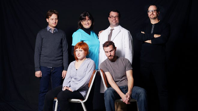 "The cast of ""The Flu Season"": front row from left, Mallory Kimbrell and Eric Butler; back row from left, Erik Schiller, Patricia Rulon, Douglas Goodman and Aaron Roston."