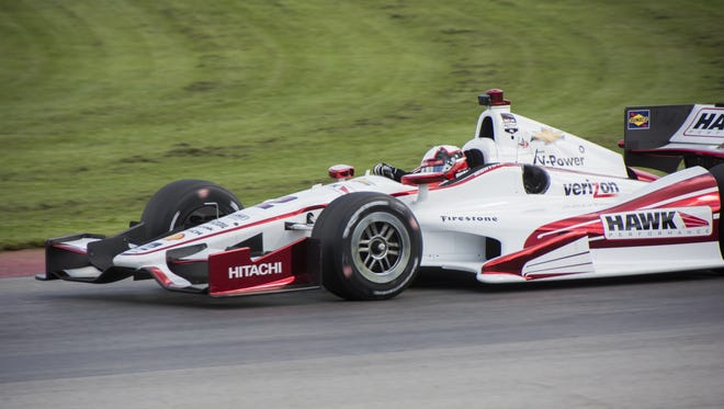 Juan Pablo Montoya, a former winner at Mid-Ohio Sports Car Course, competes in a test run prior to the Honda Indy 200 in 2014.