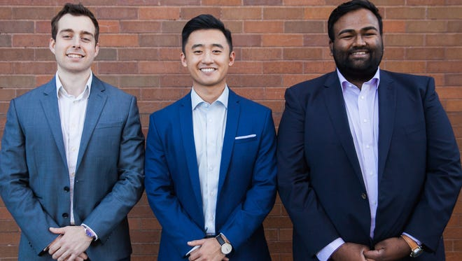 From left: Zack Perkins, Johan Zhang and Vinay Bhaskara are passionate about mentoringhigh school students through thepre-admissions years. Recently named to the 2017 Forbes 30 Under 30 class, the three founded CollegeVine, an online college admissions guidance service.