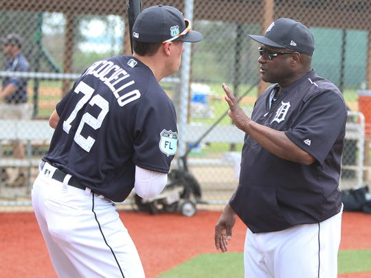 Tigers hitting coach Lloyd McClendon works with Dominic Ficociello during the first full team workout in spring training on Feb. 18, 2017, at Publix Field at Joker Marchant Stadium in Lakeland, Fla.